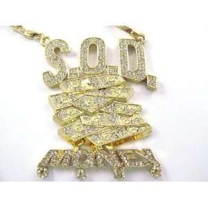 SOULJA BOY Iced S.O.D. Money Gang Pendant w/Franco Gold