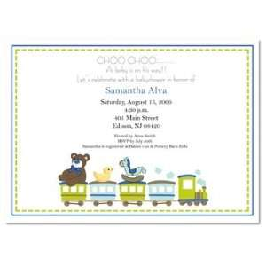 Choo Choo Train Baby Boy Shower Invitation
