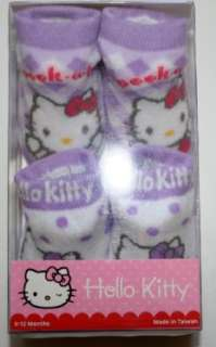 Hello Kitty Booties Girl Baby Infant white & Purple 2 Pair