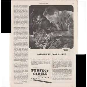 Perfect Circle Piston Rings Soldier In Coveralls 1943 Farm