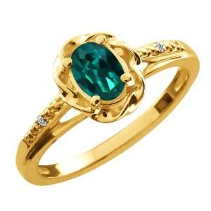 0.56 Ct Oval Deep Green Mystic Topaz Diamond Gold Plated