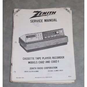 Zenith Service Manual Cassette Tape Player/Recodrer Models