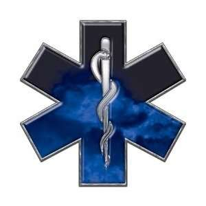 Star of Life EMT EMS Fire Blue 12 Reflective Decal