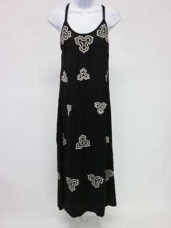 ZUN Black Silk Beaded Ivory Embroidered Maxi Dress Sz S