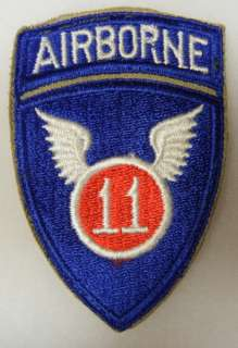 WW2 VINTAGE One Piece 11th AIRBORNE INFANTRY DIVISION SHOULDER PATCH