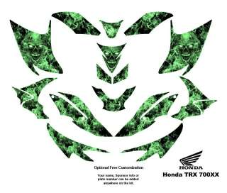 Honda TRX 700XX Graphic Decal Kit Green Zombie Skull