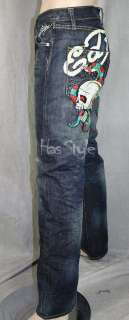 Ed Hardy Mens Skull Snake embroidered Jeans AUTHENTIC