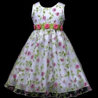Pink Hotpink Summer Birthday Party Flower Girls Dress 2,3 12y