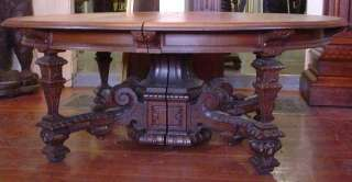 6568 Lrg Oak Table w/Square Legs, Lion Heads & 3 Leaves