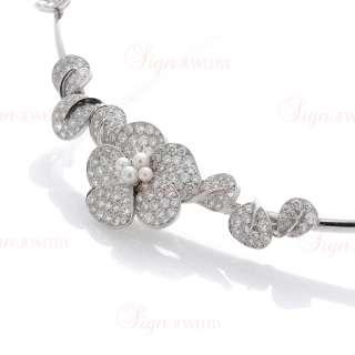 VAN CLEEF & ARPELS 18k White Gold Fleurette Diamond Pearl Necklace
