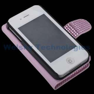 Leather Bling Rhinestone Hello kitty Case Guard Pouch For iPhone 4S 4G