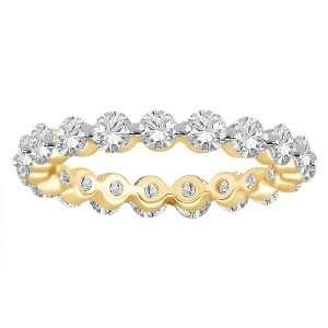 18k Yellow Gold Shared Prong Diamond Eternity Ring (3.00