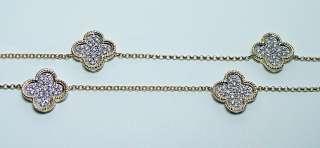 Designer 1ct Diamond Pave Floral Necklace Estate Jewelry 14K Gold