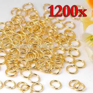 300/600/1200 Golden Plated Brass Split Jump Rings Findings 4mm/5mm/6mm