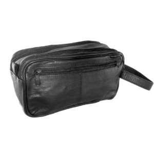 Genuine Cowhide Leather Double Zipper Shaving Bag Toiletry Kit Beauty