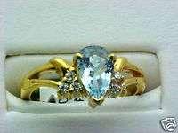 AQUAMARINE & DIAMOND PEAR CUT RING 14K GOLD LOW PRICE