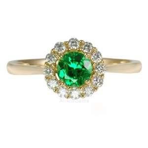 Cut Tsavorite Garnet & Diamond Gold Ring in Yellow Gold   14kt(6.5