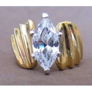 Ladies Fashion RING Size 7 Gold Plated Band w Marquise Shape Cubic
