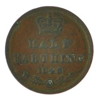 1843   Great Britain   Victoria   Half Farthing   Coin   4873
