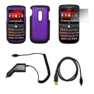For HTC Ozone Purple Rubberized Case+Screen Protector+Car Charger+USB