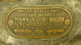 SCHRADER ANTIQUE DIVING HELMET JULY 1942   CLASSIC WW2 HARD HAT