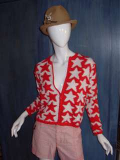 Vtg 80s RED WHITE STARS NOVELTY INTARSIA CROPPED GRUNGE ZIP CARDIGAN