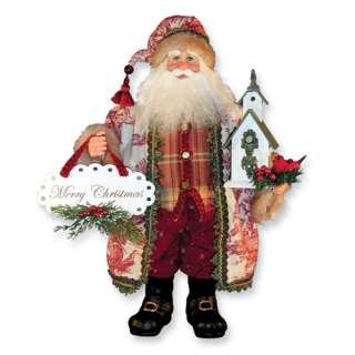 NEW Handcrafted Karen Didion 20 Toile Santa Figurine