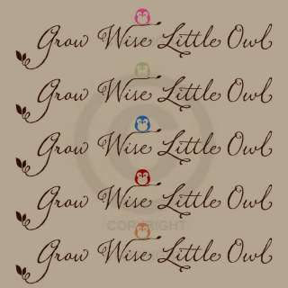 GROW WISE LITTLE OWL wall decal childrens nursery art vinyl lettering