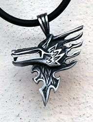 Flame Tribal Wolf Head Silver Pewter Pendant w Choker