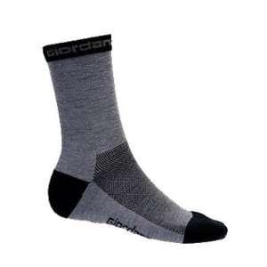 Wool Cycling Socks   Grey w/Black Accents   gi sock wool gybk Sports
