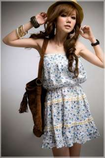 New Korea Rural Style Blue Floral Lace Rim Tube Dress