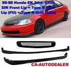96 98 Civic 3dr JDM Style SIR Front + Type R Rear Bumper Lip Kit