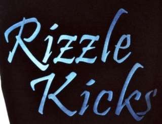 RIZZLE KICKS BLACK T SHIRT with BLUE DENIM EFFECT ~5 15