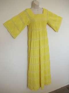 Vtg 70s Yellow CROCHET Pintuck LACE Mexican MAXI Dress hippie boho