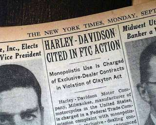 DAVIDSON Motorcycles Company FTC Charge as Monopoly in Old Newspaper