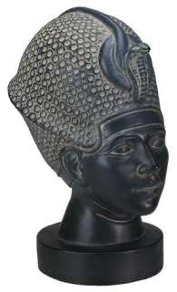 King Tut w Blue War Crown Statue Egyptian Figurine Bust Tutankhamun