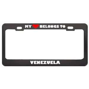 My Heart Belongs To Venezuela Country Flag Metal License Plate Frame