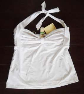 WOMENS Sz Large New TOMMY BAHAMA WHITE HALTER TOP BLOUSE