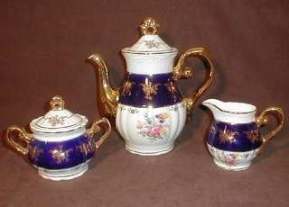 Karlovarsky Thun Cobalt blue Porcelain China tea set