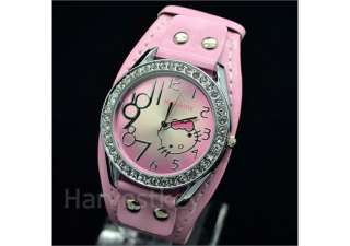3X Crystal Stone Cute HelloKitty lovely Ladies Quartz Girl WristWatch