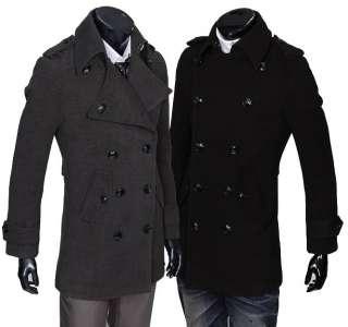 Mens Classic lapel Double breasted Woolen Coat (2990) M XXL