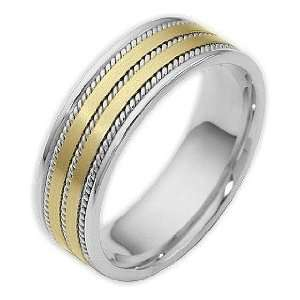 7mm Woven Style Two Tone 18 Karat Gold Comfort Fit Wedding Band Ring