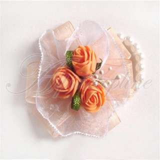 Pearl Bracelet Rose Flowers Wrist Corsage Wedding Prom Party New