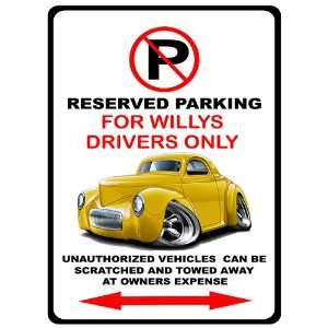 1941 Willys Hot Rod Muscle Car toon No Parking Sign