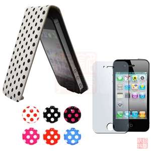 White POLKA DOT LEATHER FLIP CASE COVER+Screen Protector+Sticker For