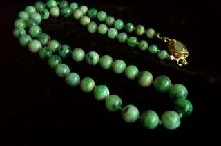Stunning Art Deco Chinese Silver Antique Jadeite Jade Bead Necklace 18