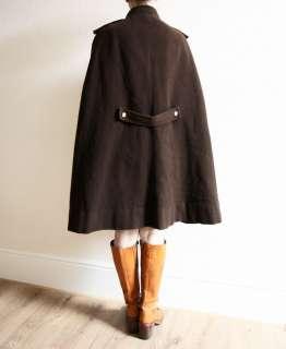 VINTAGE 60S AMAZING MILITARY LOOK BROWN ZIP UP WOOL CAPE COAT