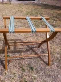Vintage Folding Wood Wooden Luggage Suitcase Hotel Rack Stand