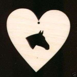 Horse Head in Heart Shape 2 Unfinished Wood #377 2H