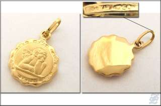 v3914   18K SOLID YELLOW GOLD ANGEL MEDAL PENDANT CHARM